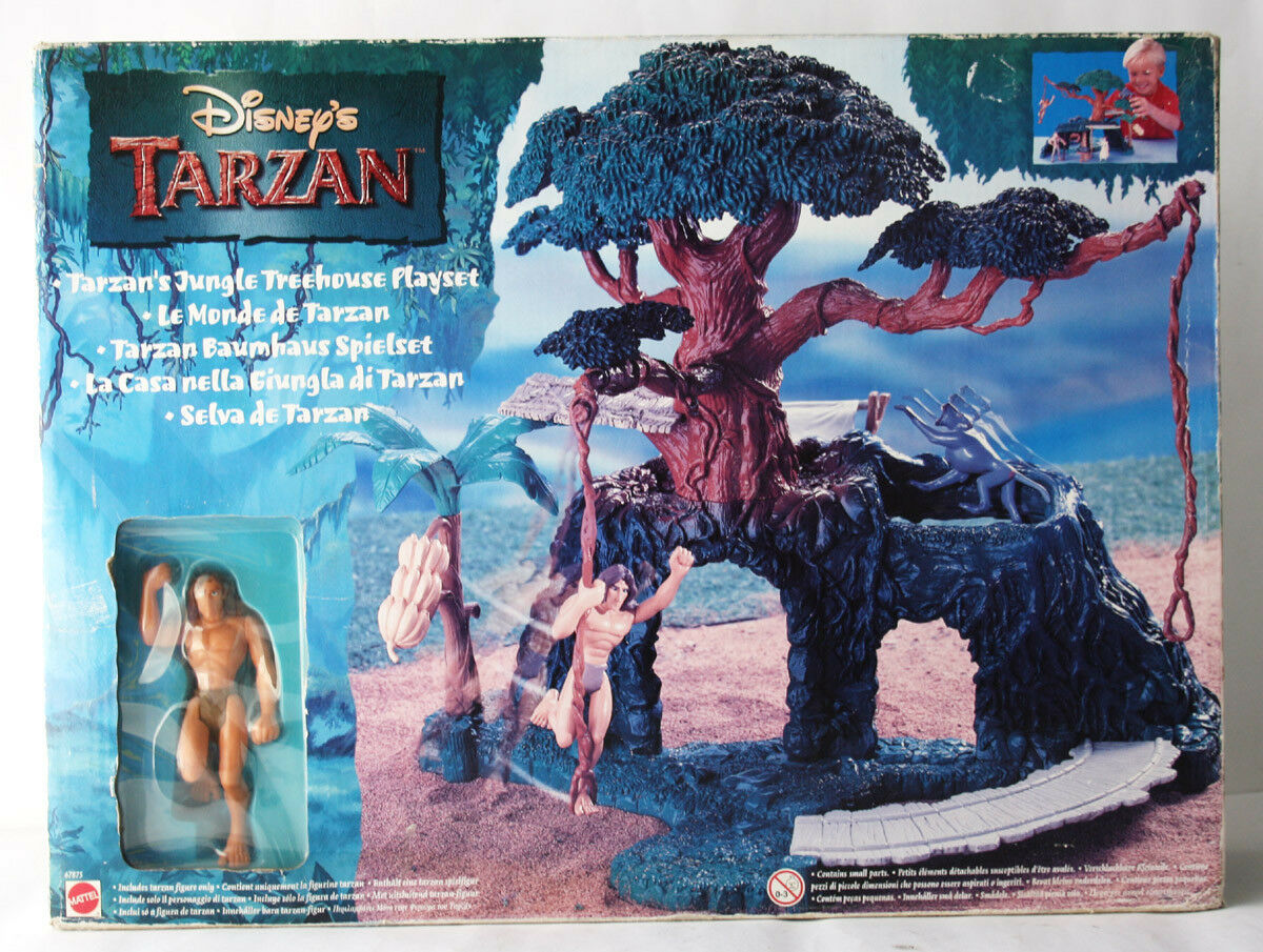 RARE VINTAGE 1999 TARZAN JUNGLE TREEHOUSE PLAYSET + FIGURE MATTEL NEW SEALED