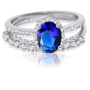 Ovalado-Zafiro-Azul-Fino-Diamante-Sintetico-Compromiso-Anillo-Plata-de-Ley-Set