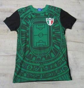 Detalles de México Adidas Originals Azteca Ajustada Camiseta verde y negro pequeño para hombre ver título original