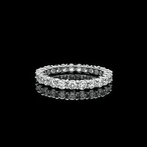 1-50CT-BRILLIANT-CREATED-DIAMOND-ETERNITY-RING-SOLID-14K-WHITE-GOLD-BAND-SIZE-5