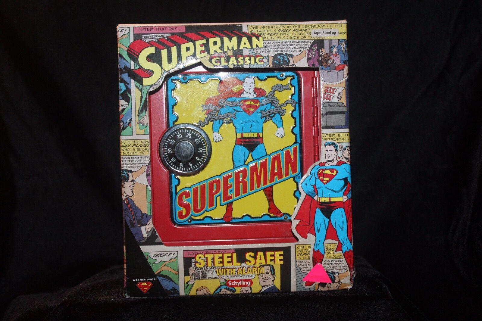 Superman Classic Steel Safe w/Alarm D. C. Comics Schylling 2001 Mint In Box