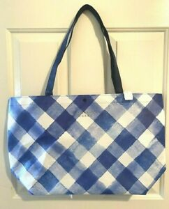 NEW-Bath-amp-Body-Works-2019-BLACK-FRIDAY-SHOPPING-TOTE-blue-gingham-BAG-ONLY