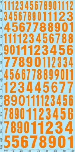 Los números de inicio cifras Naranja inicio numbers naranja 10,6-14,5 mm 1:18 decal cápsula