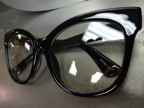 OVERSIZED EXAGGERATED VINTAGE CAT EYE Style Clear Lens EYE GLASSES Black Frame