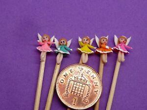 5-x-Hand-Made-Little-Angels-On-A-Stick-Dolls-House-Miniature-Nursery