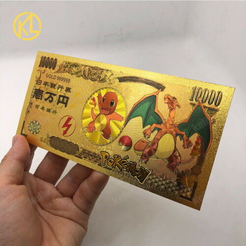 10pcs Pokemon Cards Set collection Gold Japan Pikachu Eevee Charizard Banknote