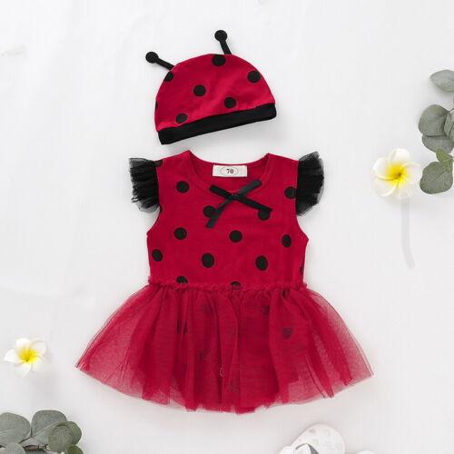 Newborn Baby Ladybug Dress Hat Toddler Bodysuit Polka Dot Fancy Dress Up Costume