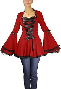 Plus-Size-Red-Gothic-Corset-Black-Ribbon-Lace-Bell-Sleeve-Top-1X-2X-3X-4X