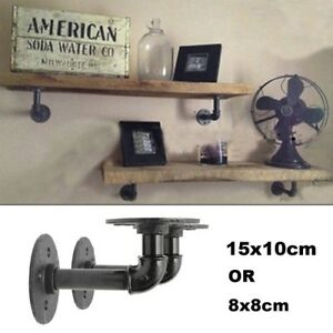 Details about 2Pc Industrial Black Iron Pipe Shelf Bracket Wall Mounted  Floating Shelf Honder