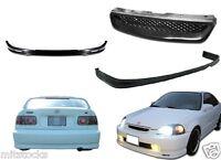 96 97 98 Civic 2 / 4 Door Pu Black Add-on Front + Rear Bumper Lip + Hood Grill