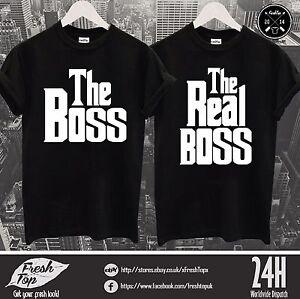 dbe6eb393 The Boss The Real Boss T Shirt Top Couple Matching Girlfriend ...
