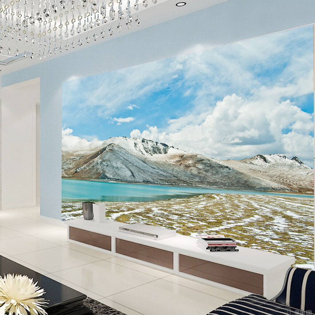 3D White clouds Snow Mountain Wall Paper Print Decal Wall Deco Indoor wall Mural