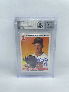 Mike Mussina Signed Inscribed 1991 Score 383 Rookie Card Beckett Grade 10 Auto 4