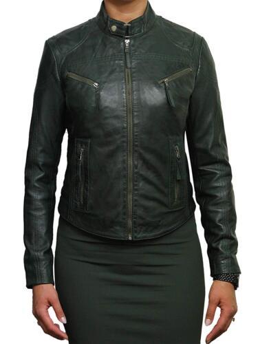 Brandslock Ladies Genuine Leather Biker Jacket Slim Fit Vintage Distressed
