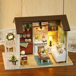 Wooden-Dollhouse-Miniatures-Kits-DIY-House-Light-Handicraft-Toy-G