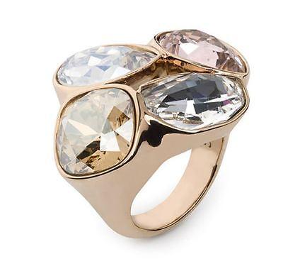 NIB $299 Atelier Swarovski Core Collection Nevola Large Ring Gold Size 52  55 58