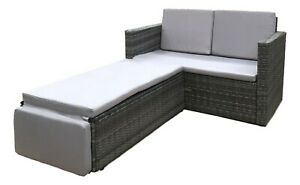 Rattan-Outdoor-Garden-Sofa-Furniture-Love-Bed-Patio-Sun-bed-2-seater-Grey-New