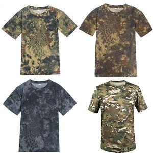 Men-039-s-Army-Camo-Camouflage-Short-Sleeve-Shirt-Hunting-Fishing-T-shirt-Tee-Tops