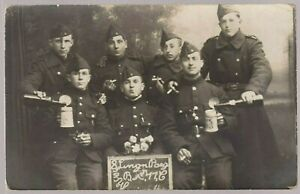 BELGIUM-SOLDIERS-PLATOON-WW1-MILITARY-ANTIQUE-PHOTO-RPPC-POSTCARD