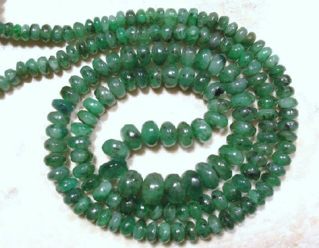 Real Emerald 2.5-5.5mm diameter Cabochon Rondelle Beads D (Select-A-Size) A+