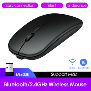 USB Rechargeable Optical Computer Mice Dual Mode 2.4GHz Wireless Bluetooth Mouse