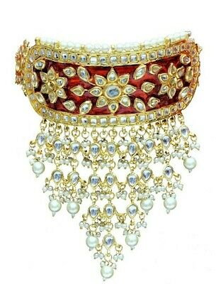 Fashion Jewelry Indian Fashion Jewelry Traditional Wedding Pearl Cz Kundan Choker Earring Sets Highly Polished
