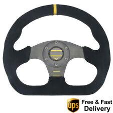 325mm Universal Rally Race Flat Drift Black Steering Wheel Sport Suede Leather