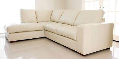 Corner Sofa Cream Faux Leather