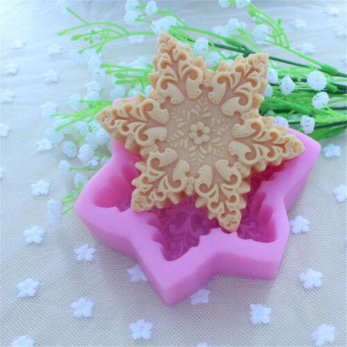 High-Grade Snowflake Design 3D Soap Mold Chocolate Fondant Molds Mould HU G$