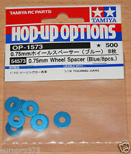 Tamiya 54573 0.75mm Wheel Spacer (Blue/8 Pcs.) (TRF417/TRF418/TRF419/TA06/TB04)