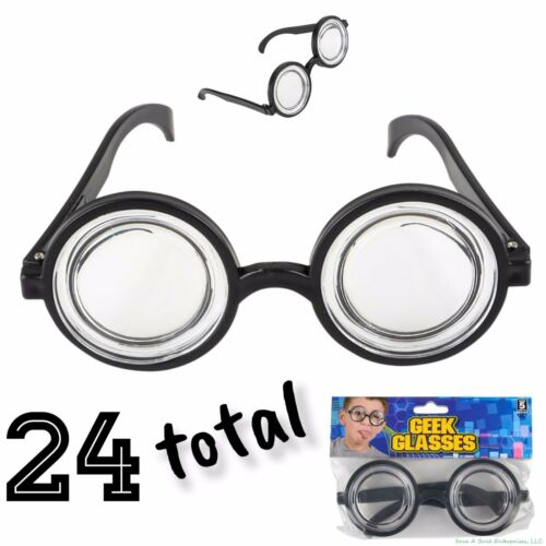 24 NERD GEEK DORK Glasses Thick Lens Shades Costume Coke Bottle Frame GaG