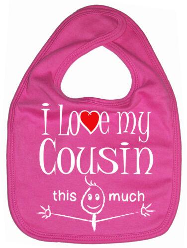 """Cousin Bavoir bébé /""""J/' aime mon cousin autant/"""" Cute Drôle Cadeau"""