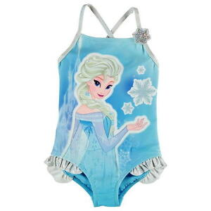 UK SELLER Blue Elsa Frozen Girls Swimwear Swimming Costume Suit Beach