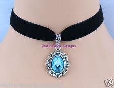 "13"" black velvet choker necklace Green Glass Jewel Pendant goth Victorian UK"
