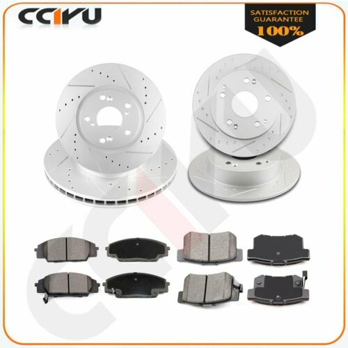 Rear Brake Rotors Ceramic Pads For Acura RSX Type S 2002-06 Drill Slot Front