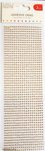 TRIMCRAFT simplemente creativo 3MM Oro Adhesivo Piedras Preciosas-Gemas 1080 por paquete