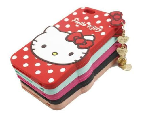3d7676afb 3D Hello Kitty Bow Soft Silicone Phone case Cover For iPhone X SE 5 6 7 8  Plus