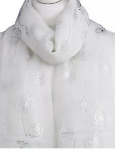 White Scarf With metallic silver foil Dandelion flower shawl throw present gift