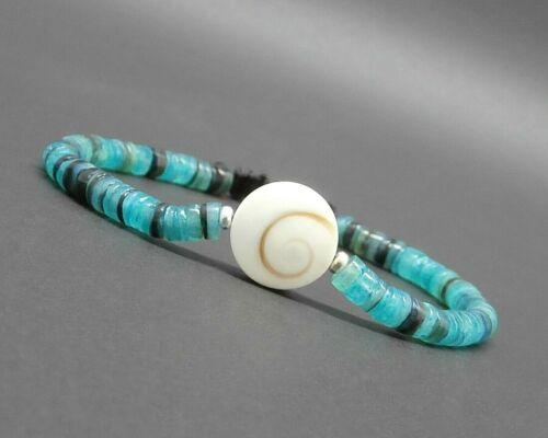 Bracelet homme//femme heishi en coquillage naturel bleu oeil de Shiva// St lucie