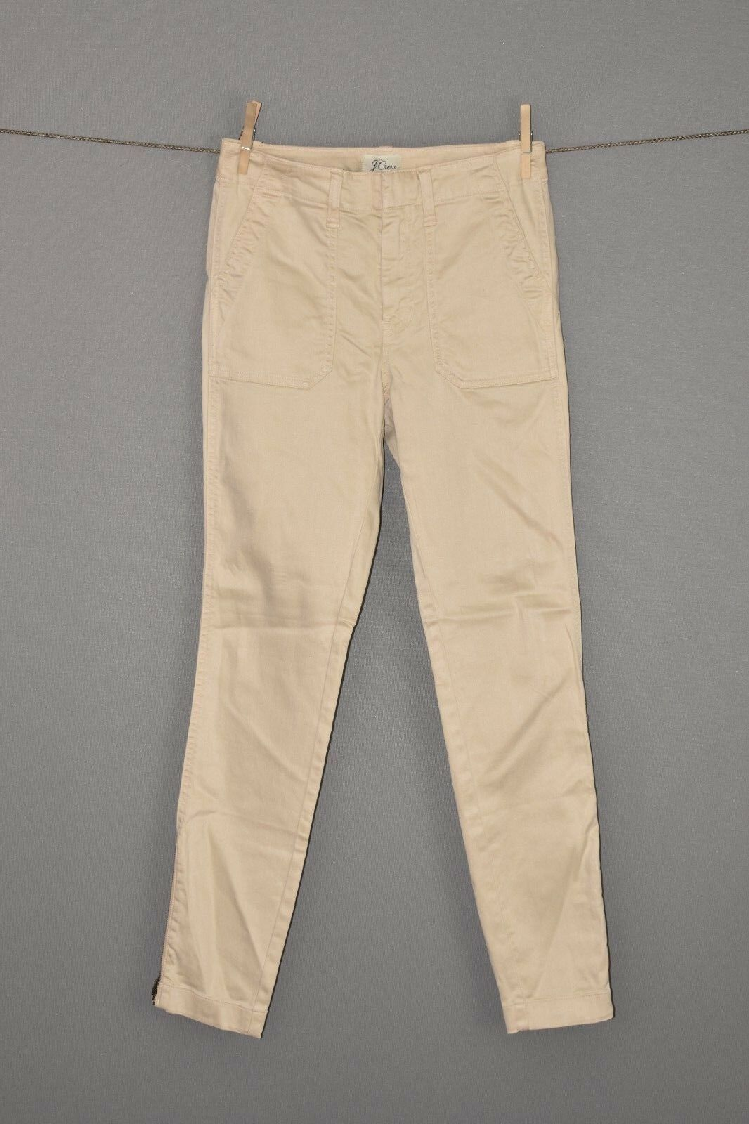J.CREW NEW  98 Skinny Stretch Cargo Pant Zip Leg in Sunwashed Linen Size 24