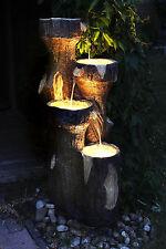 """Gartenbrunnen """"Baumstamm"""" 120 cm mit LED Beleuchtung Springbrunnen Brunnen NEU"""