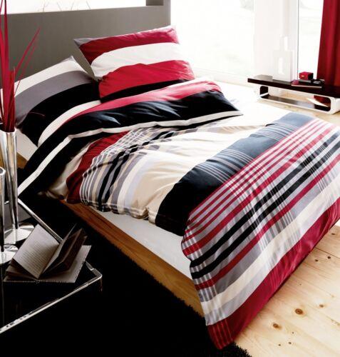 Kaeppel Biber Bettwäsche Prime Time Rot Schwarz Streifen Weiß Öko Tex RV