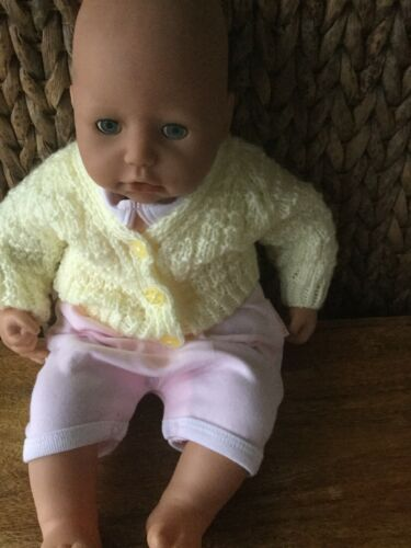 Free Post New Handmade Baby Cardigans Lemon 0//4 Months