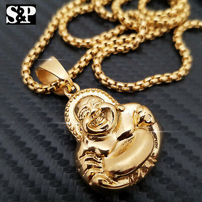 """Gold Stainless Steel Iced out 3D Jesus Pendant w// 24/"""" Round Box Chain Necklace"""