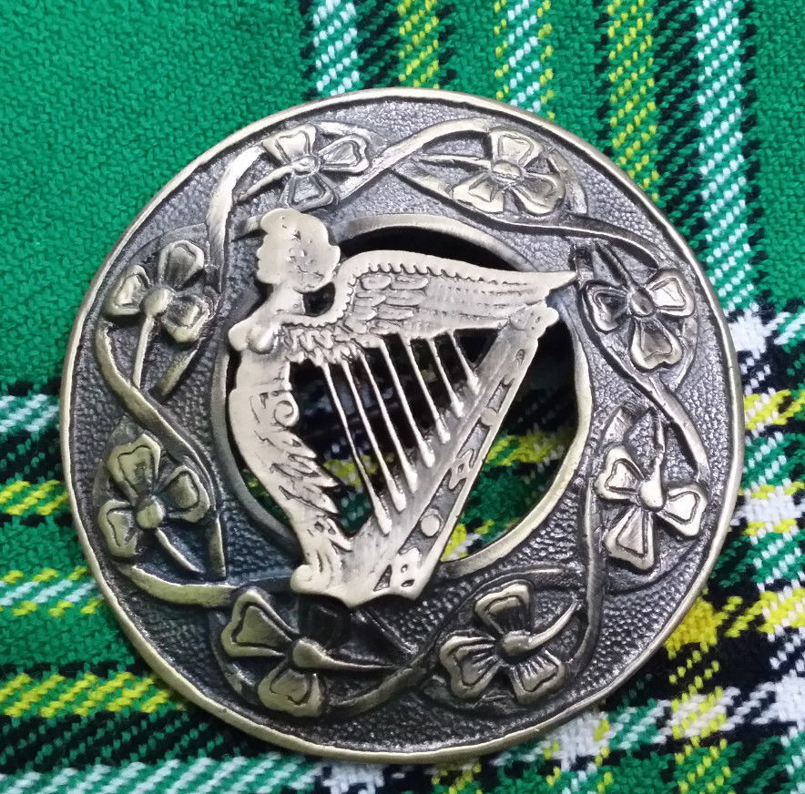 Traditional Irish Harp Kilt Fly Plaid Brooch Antique Finish 3