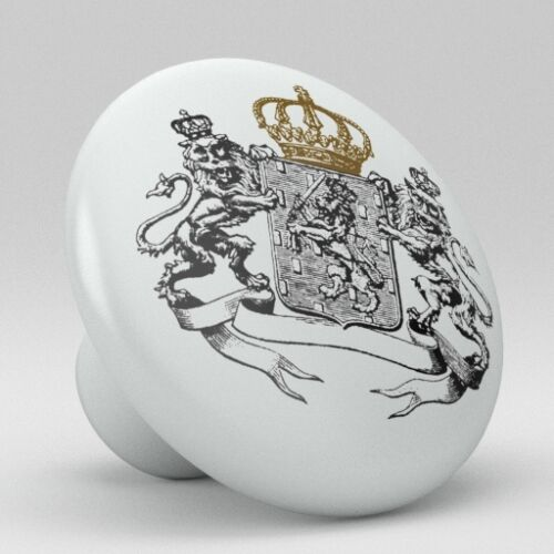 Golden Brown Crown Lion Coat of Arm Ceramic Knobs Pull Drawer Cabinet Vanity 874