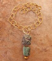 Rough Raw Turquoise & Amazonite Necklace Large Gem Pendant Hammered Gold Jewelry