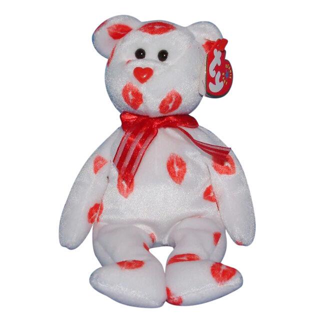 184daf98822 2000 Ty Beanie Baby Smooch Kisses White Teddy Bear Plush Animal Toy ...