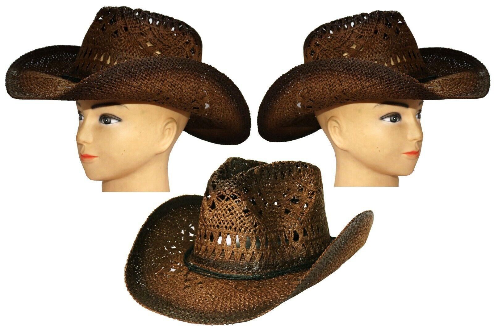 Sombrero de paja vaquero talla 57-58 cinta sombrero vaquero carnaval jinete carnaval
