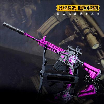 1:5 1//5 giocattolo pubg rosa ragazza USA M416 PISTOLA ARMA campo di battaglia in Metallo Portachiavi